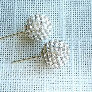 Sterling Silver post Pave ball earrings